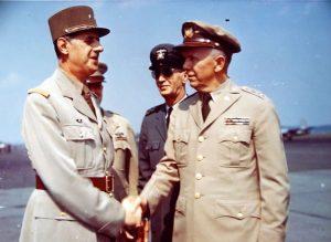 Gen. De Gaulle meeting American generals